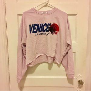 Zara Cali Lilac Lavender Oversized Sweatshirt Crop